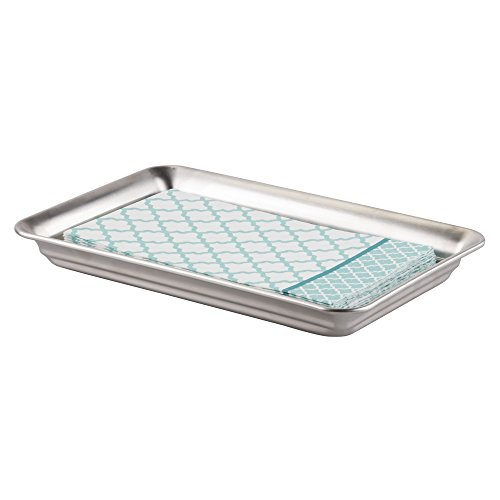 mDesign Vanity Organizer Tray for Hand Towels, Makeup, Beauty Products - Brushed Stainless (Tray Towel)