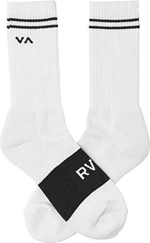 RVCA Men's Basic Block Crew Socks White Black One Size