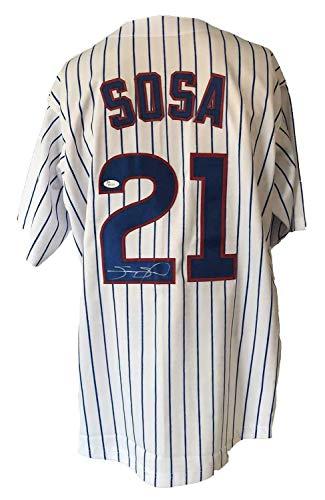(Sammy Sosa Autographed Signed Memorabilia Custom Pinstripe Jersey JSA Authenticated)