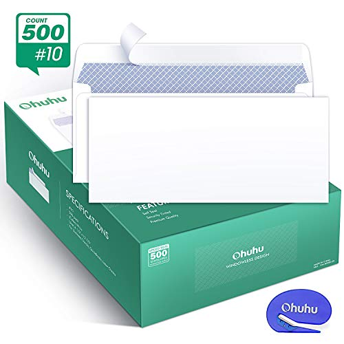 Ohuhu #10 Envelopes SELF Seal Business Envelope Windowless Design, Security Tint Pattern for Secure Mailing, Invoices, Statements & Legal Document, 4-1/8 x 9-1/2, 500 Pack, A Letter Opener -