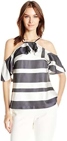 Trina Turk Women's Olan Drapey Stripe Cold Shoulder Top
