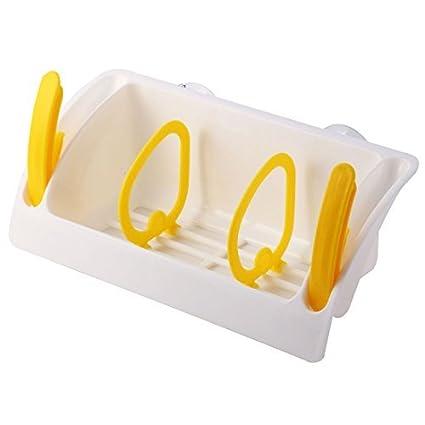 eDealMax plástico huecos domésticos fuera diseña el sostenedor del estante 3 compartimentos ventosa sumidero de almacenamiento