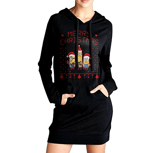 Womens Minions Ugly Christmas Cotton Hoodie Casual Dress