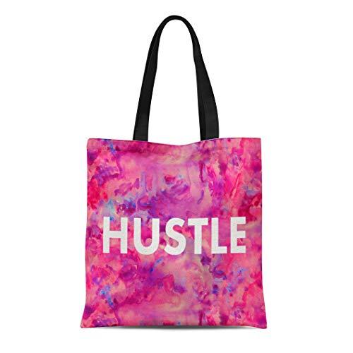 Ablitt Tote Bag Shoulder Bags Canvas Pink Glam Hustle Watercolor Modern Purple Cool Grocery bag Women's Handle Shoulder Tote Shopper Handbag