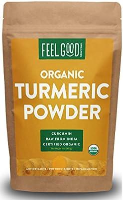 Organic Turmeric Root Powder - 16oz Resealable Bag (1lb) - 100% Raw w/Curcumin From India - by Feel Good Organics
