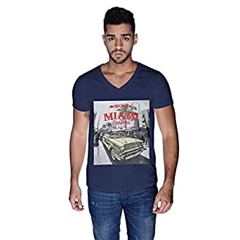 Creo Miami Car Beach T-Shirt For Men - Xl, Navy Blue