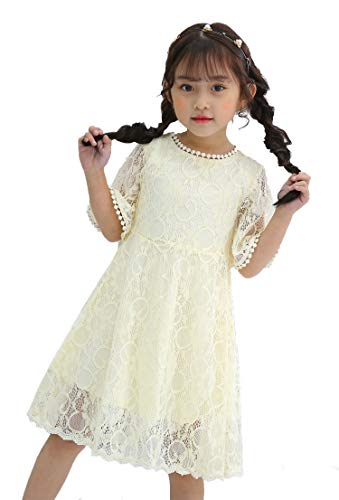 Youwon Flower Girl Lace Dress Baptism Wedding Pageant Gown First Communion Country Dress 2-6 7-16 Beige