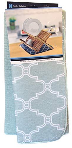 - Microfiber Dish Drying Mats 2 Pack Trellis Tile Plain Colorful Kitchen Dish Pads 15x20 Reversible Sink Mat Stylish Home, Dorm, Apartment Essentials (Dot Trellis Sea Breeze)