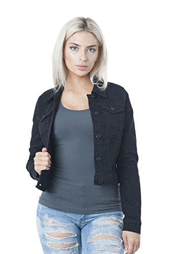 - Hollywood Star Fashion Womens Basic Button Down Denim Jean Jacket (XX-Large, Black)