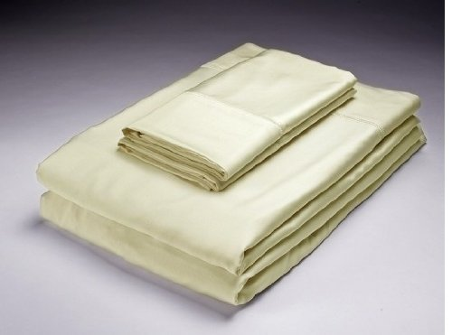- Home Source/Caro Ivory King Bed 250 TC Solid Bamboo Flat & Fitted Sheets Set