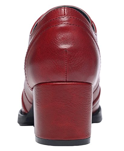 Passionow Womens New Classic Elegant Lace-up Evening Chunky Heel Dress Pumps(7 B(M)US, Red)