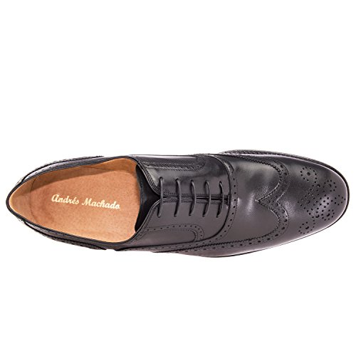 Andres Machado.6031.mens Oxford Sko I Leather.made I Spain.mens Store Størrelser: Oss M13 Til M16 Sort Skinn