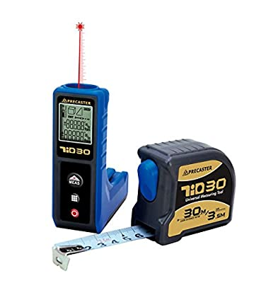 PRECASTER Tio30 - Digital LCD 30m / 98ft Measure Laser Distance Meter Measurer + 2 Free 3m Tape