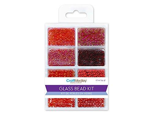 Bugle Glass Bead Kit - CraftMedley Glass Bead Kit, 45g, Rocailles/Seed/Bugles, Rouge