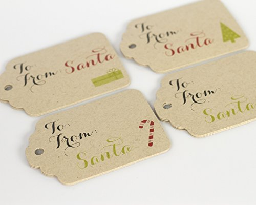 24 Christmas Gift Wrap Kraft Tags, From Santa Gift Tags (ST-112-KR) (Santa Tags Gift)