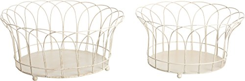 Transpac Metal French Wire Rusty Basket, Set of 2