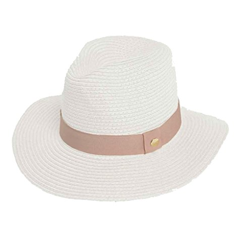 Melissa Odabash Fedora Hat (White/Dusty Rose) by Melissa Odabash