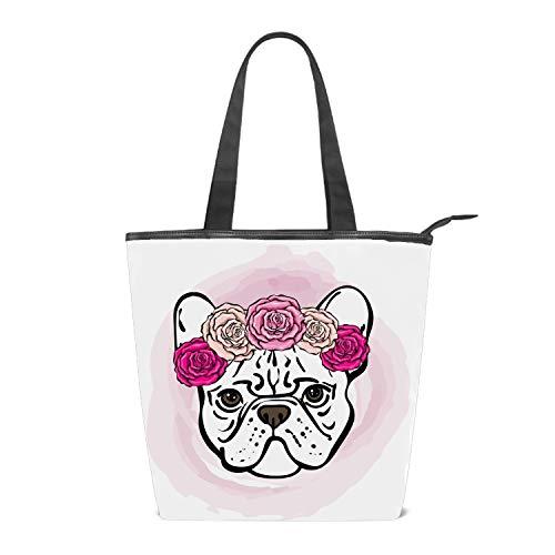 Women Canvas Handbag French Bulldog With Rose Purse Shoulder Bag Messenger Bag Mom Bag for Women