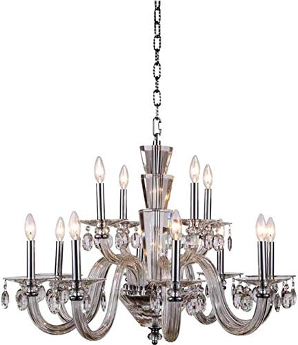 Elegant Lighting Chandelier Augusta Traditional Antique 12-Light Chrome Polished Nickel ()