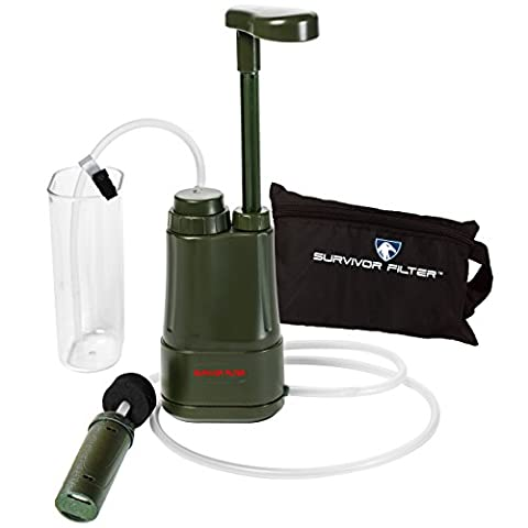 Survivor Filter PRO 0.01 Micron Water Purifier Pump. Emergency and Camping Survival Gear. 3-Stage Nanofiltration Water Filter - 2 Separate 100,000L Membrane UF Filters that Can Be Cleaned and a Replaceable Carbon Filter. Also Comes With an Attachable Water Cup, Extended Hoses, Hose Clip and a Free Zippered Carrying (Military Water Purification)