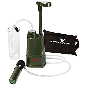Survivor Filter PRO 0.01 Micron Water Purifier Pump. Emergency and Camping Survival Gear. 3-Stage Nanofiltration Water Filter - 2 Separate 100,000L Membrane UF Filters that Can Be Cleaned and a Replaceable Carbon Filter. Also Comes With an Attachable Water Cup, Extended Hoses, Hose Clip and a Free Zippered Carrying Case