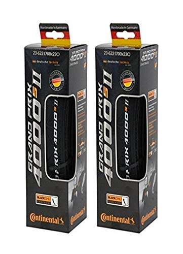Continental Grand Prix 4000s II Cycling Tire (Bleck Set Of 2 Tires, 700 x 25C)