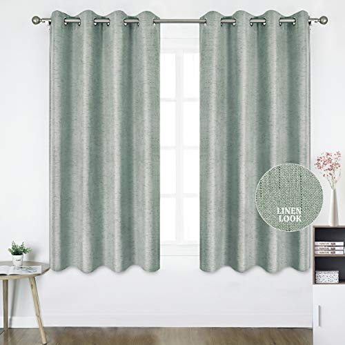 HOMEIDEAS Linen Curtains- Falling Star Faux Linen Textured Window Curtains for Bedroom and Living Room, Thermal Insulated Grommet Top Drapes (52 x 63 Inches, Light Gray, 2 Panels)