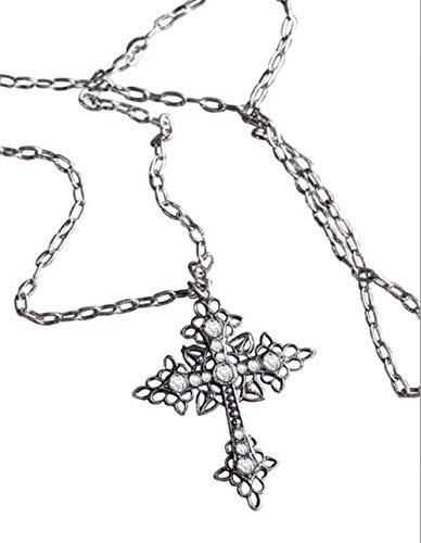 (Victorian Trading Co Gothic Cross Pendant Swarovski Crystal SilverPlate Necklace)