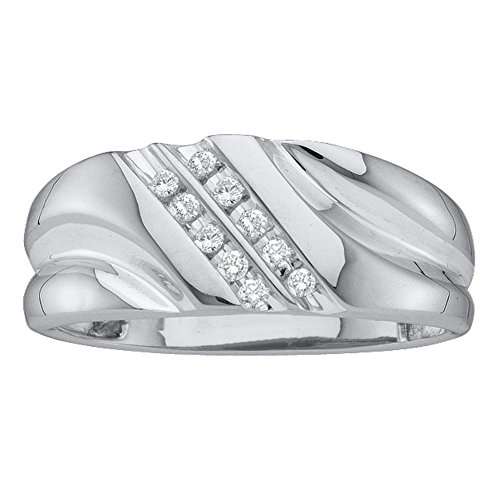 10k White Gold Mens Two Row Diamond Wedding Band Anniversary Ring Round Channel Set Fancy 1/8 ctw Size (Mens Diamond Anniversary Ring)