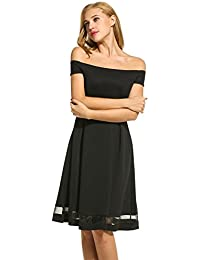 Zeagoo Women Sexy Off The Shoulder Solid Pleated Cocktail...