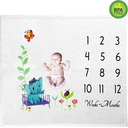 Month to Month Baby Blanket Super Soft Milky Flannel Monthly Milestone Baby Blanket Shower Gift Photography Props for Newborn Baby Boys and Girls New Mom