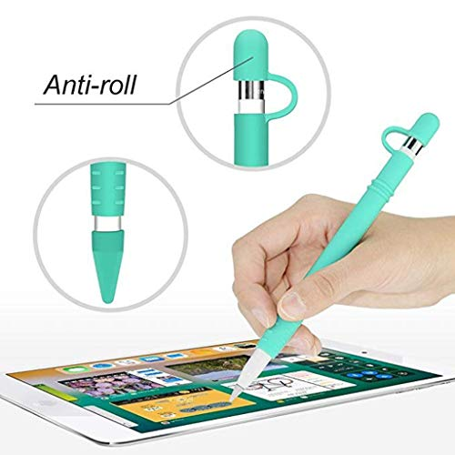 (Hot Sale!DEESEE(TM)Magnetic Sleeve Soft Silicone Holder Grip Set For Apple Pencil (Mint)