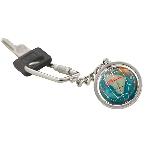KALIFANO Gemstone Globe with Bahama Blue Opalite Ocean showcased on a Bright Silver Keychain Blue Opalite Gemstone Globe