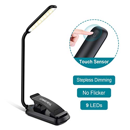 OMERIL Book Light, 9 LEDs Clip on Reading Light Touch Control Stepless Dimming Desk Lamp with 3 Color Modes x Customized Brightness,USB Rechargeable Eye-Care Night Light for Kids Adults Reading in Bed