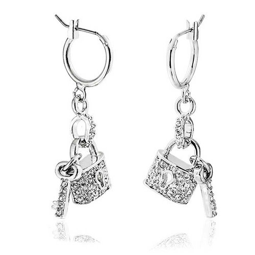 (Partner In Crime Pave Crystal Lock And Key Charm Dangle Earrings For Women Girlfriend Couples Silver Plated Brass)