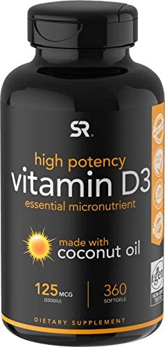 Vitamin D3 (5000iu/125mcg) Infused with Coconut Oil ~ Non-GMO & Gluten Free (360 Mini Liquid Softgels)