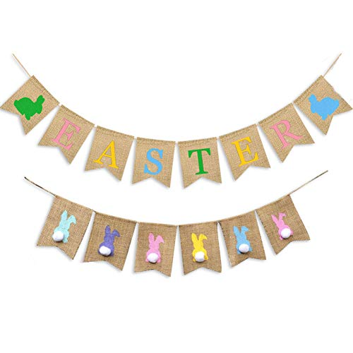 AMAZYJ Easter Burlap Banners Colorful Bunny White Bunny Rabbit Carrot Pattern Various Types Easter Banner Decorations Bunting Banner Easter Decor for Easter (Colorful Bunny)