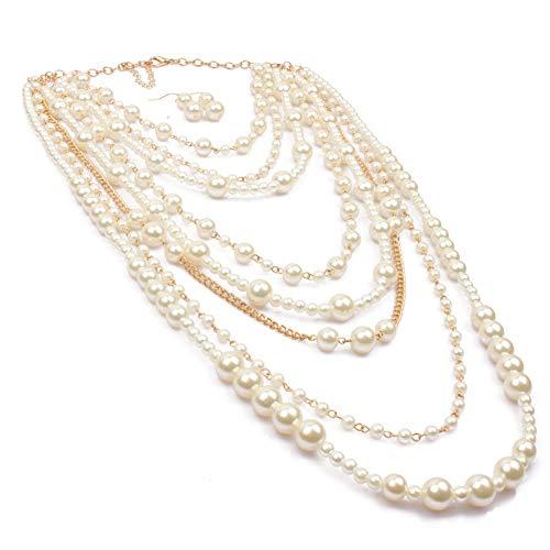 - KOSMOS-LI Multi-Strand Simulated Pearl Fashion Necklace Long Jewelry