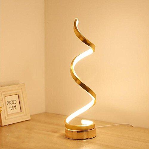 24w Spiral - WZG Spiral LED Table Lamp Curved LED Light Modern Simple Design 24W Warm White Children's Reading Eye Lamp Desk Office Bedside Lamp, golden 24w warm