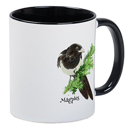 CafePress Curious Watercolor Magpie Bird Nature Art Mugs Unique Coffee Mug, Coffee Cup
