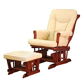 huge discount 23bcf cd674 Athena Sleigh Glider Rocker and Ottoman with Beige Cushion (Cherry)