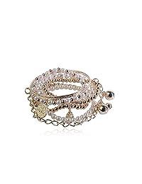 Lureme® Bohemian Bead Pearl Multi Strand Textured Coin Star Ball Eiffel Tower Charm Gold Tone Stackable Bangle Bracelet Set for Women 06000189-1