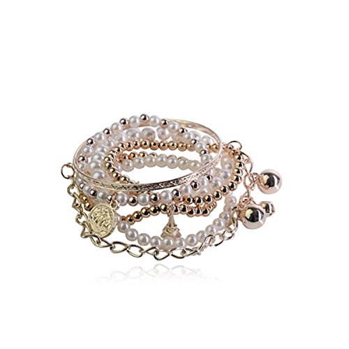 Textured Coin Pearl - Lureme Bohemian Bead Pearl Multi Strand Textured Coin Star Ball Eiffel Tower Charm Gold Tone Stackable Bangle Bracelet Set for Women 06000189-1