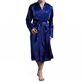 Amzchoice Men V Neck Satin Robe Kimono Long Bathrobe Lightweight Sleepwear Wedding (S, Blue)