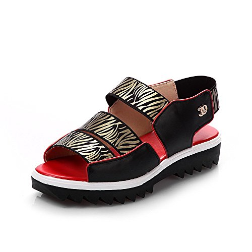 AmoonyFashion Womens Cow Leather Low-heels Open-Toe Assorted Color Elastic Sandals Black BGWIZ