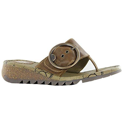 Fly London Trim - Sandalias de vestir de cuero para mujer marrón - marrón (camel)