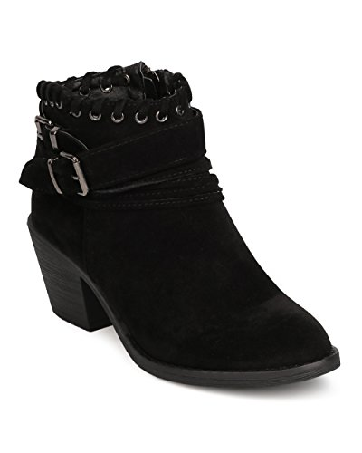 Nature Breeze Faux Suede Wrap Around Buckled Chunky Heel Bootie FE50 - Black (Size: 6.5) Black Suede Buckled Ankle Bootie