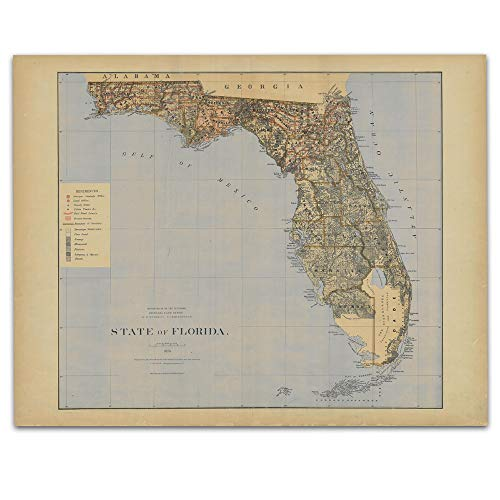 - Florida Vintage Map Circa 1876-11 x 14 Unframed Print - Great Housewarming Gift. Florida Themed Office Decor.
