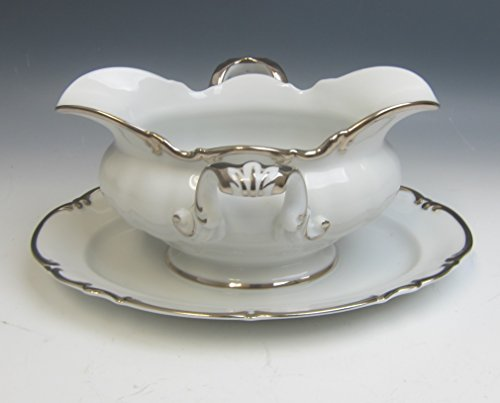 Hutschenreuther China REVERE (White) Gravy Boat w/Attached Under Plate EXCELLENT