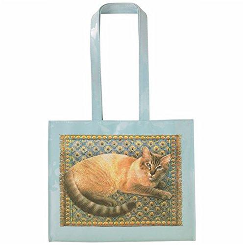 Borsa a tracolla in vinile con disegno di gatto.